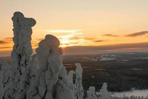 Abend auf einem Berggipfel in Lappland