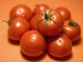 Foto von sehr frischen Tomaten präsentiert auf orange Hintergrund