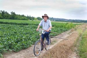 älterer Bauer, der Fahrrad fährt