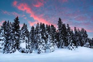 schöner Sonnenaufgang in der Nähe von Madonna di Campiglio Skigebiet foto