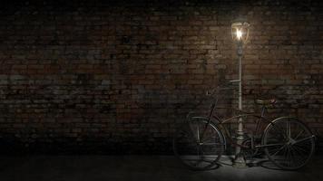 altes Fahrrad gegen die Wand foto