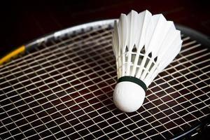 Federball auf Badmintonschläger.