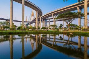 Ringstraße und Bhumibol-Brücke auf blauem Himmel foto