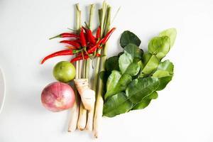 Kräuter und würzige Zutaten für die Zubereitung von thailändischem Essen foto