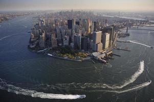Luftaufnahme von Lower Manhattan, New York foto