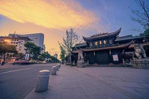 China Chengdu Qingyang Palast in der Nacht foto