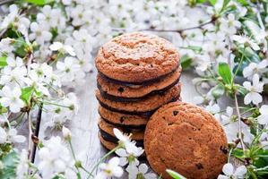 Kekse und Frühlingsblüten foto