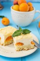 Kuchen Käsekuchen mit Aprikosen, Sommerdessert foto