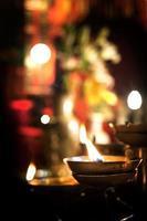 flackernde Kerze in Man Mo Tempel, Sheung Wan, Hong Kong