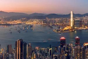 Blick auf das Geschäftsviertel von Hongkong foto
