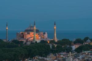 Hagia Sophia in der Nacht foto