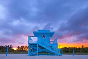Miami Beach Florida, buntes Rettungsschwimmerhaus foto