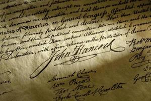 John Hancock Unterschrift auf der Unabhängigkeitserklärung der USA foto