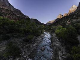 jungfräulicher Fluss. Zion National Park, Utah foto