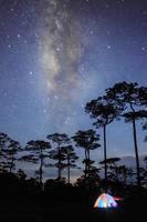 buntes Zelt im Wald mit Milchstraße im dunklen Himmel