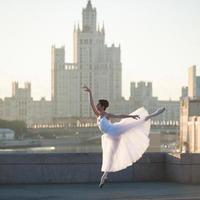 Ballerina in der Mitte von Moskau foto
