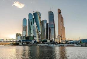Geschäftszentrum Moskau-Stadt bei Sonnenuntergang.