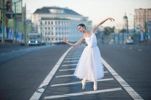 Ballerina in der Mitte von Moskau