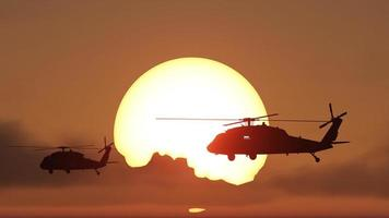 Hubschrauber Sonnenuntergang foto