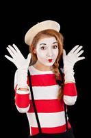Porträt der weiblichen Mim-Komikerin foto