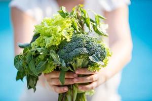 Haufen Grün in weiblichen Händen foto