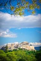 schöne Aussicht auf die alte Akropolis, Athen, Griechenland foto