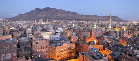 Stadtbild von Sanaa-traditionellen Jemenhäusern foto