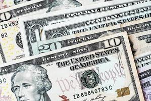 uns. Dollarnoten Hintergrund foto