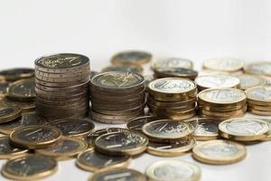 Geld, Finanzen. Euro-Münzen foto