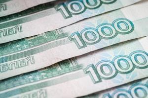 russische Rubel, Nahaufnahme.
