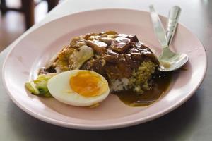 Gegrilltes rotes Schweinefleisch und gebratene Ente in Sauce mit Reis foto