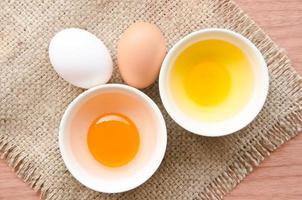 verschiedene frische Eier und Enteneier.