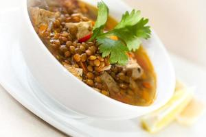 Tofu-Linsensuppe. vegetarische Suppe. foto