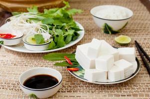 frischer Tofu mit Reis, Salat und Sojasauce.