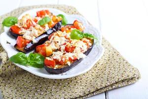 Aubergine und Tomate schmelzen foto