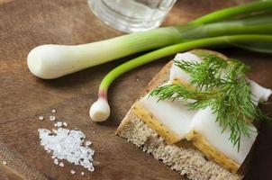 Sandwich mit gesalzenem Schmalz auf Roggenbrot und Wodka foto
