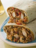 Hühnchenreis und Käse Burrito foto