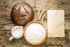 Bäckerei Rezept Hintergrund. foto