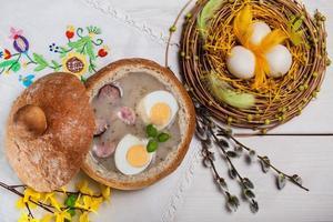 Frische Dekoration für Ostern foto