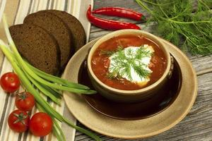 Suppe Borschtsch, russische und ukrainische Küche foto
