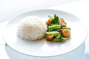 Rühren Sie gebratenen Grünkohl mit gesalzenem Fisch-chinesischem Essen