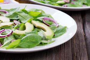Bio-Salat aus grüner Avacado und Spinat mit roten Zwiebeln