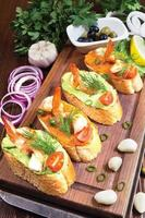 Sandwiches mit Garnelen foto