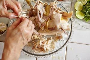 geschreddertes Hühnchen