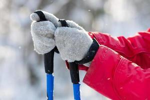 Skistöcke in Frauenhänden foto