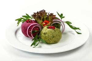 frischer grüner Salat mit Babyspinat foto