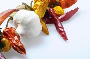 getrocknete Chilischoten und Paprika foto