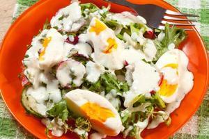 Salat mit Ei, Radieschen und Gurke. foto