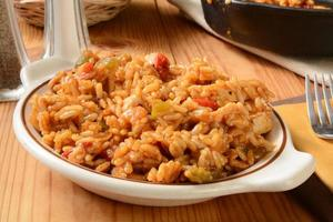 Hühnchen-Fajita mit Reis foto