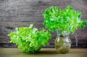 Rüscheneisberg und grüner Eichensalat foto